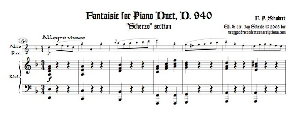 """Scherzo"" from Fantaisie for Pf. 4-hands, D. 940, arr. for alto & bass recorders"