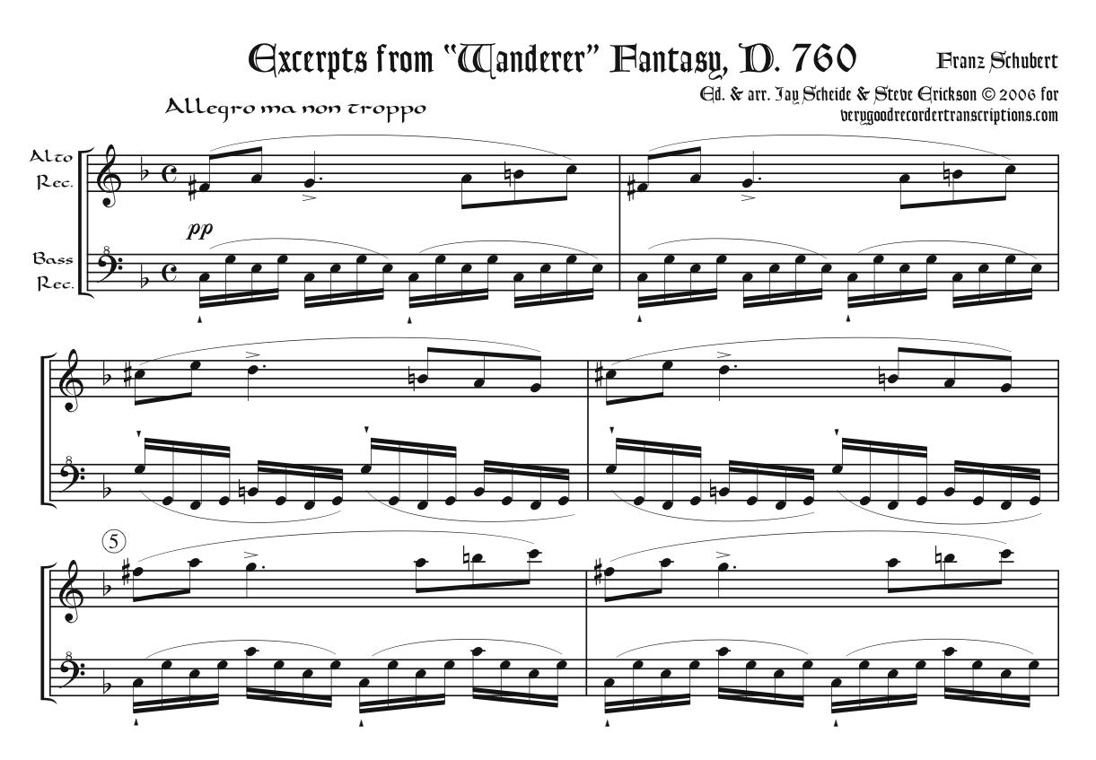 "Excerpts from the ""Wanderer"" Fantasy, D. 760, arr. for alto & bass recorders"