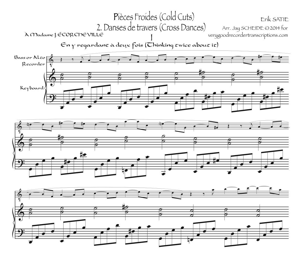 *Pièces froides*, Part 2—Danses de travers, arr. for bass or alto recorder and piano