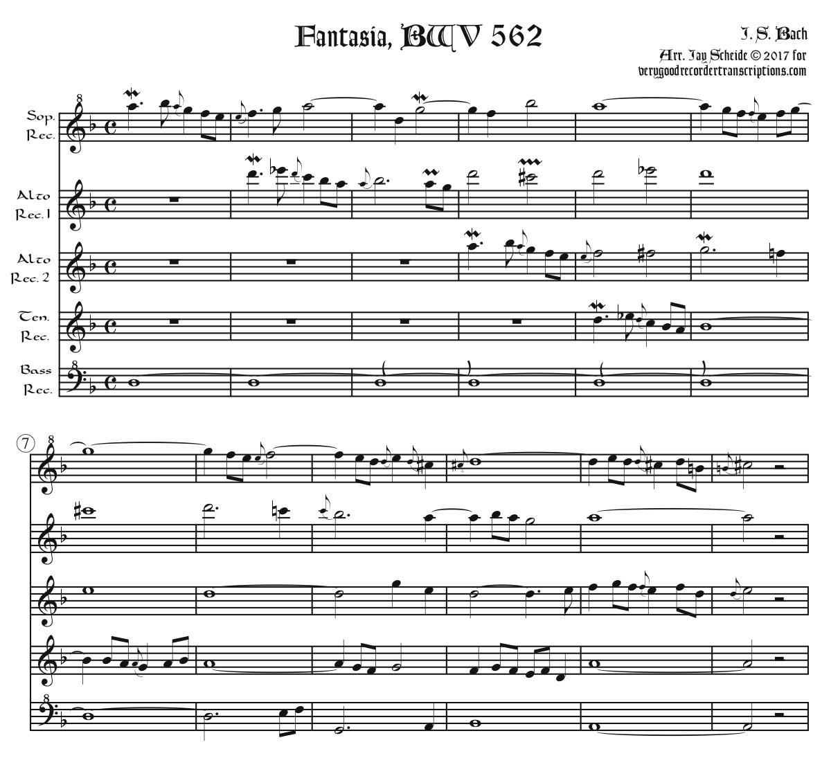 Fantasia BWV 562, arr. for recorder quintet