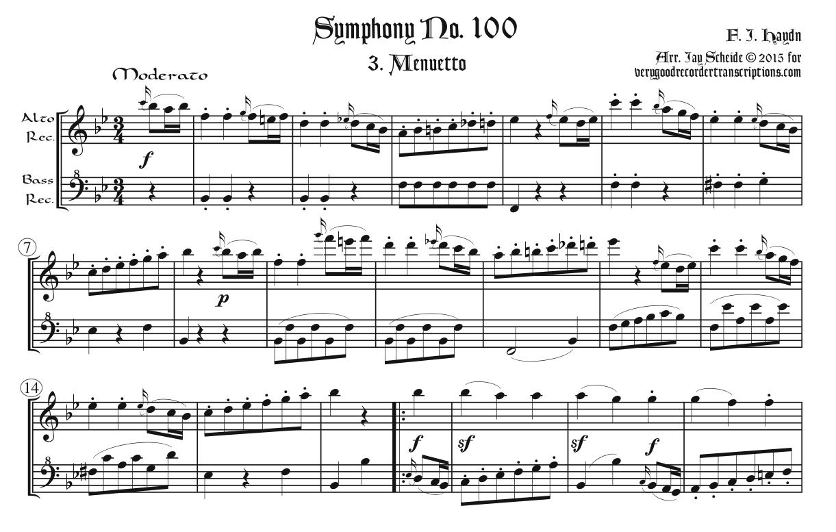 Minuet & Trio from Symphony No. 100, arr. for alto & bass recorders