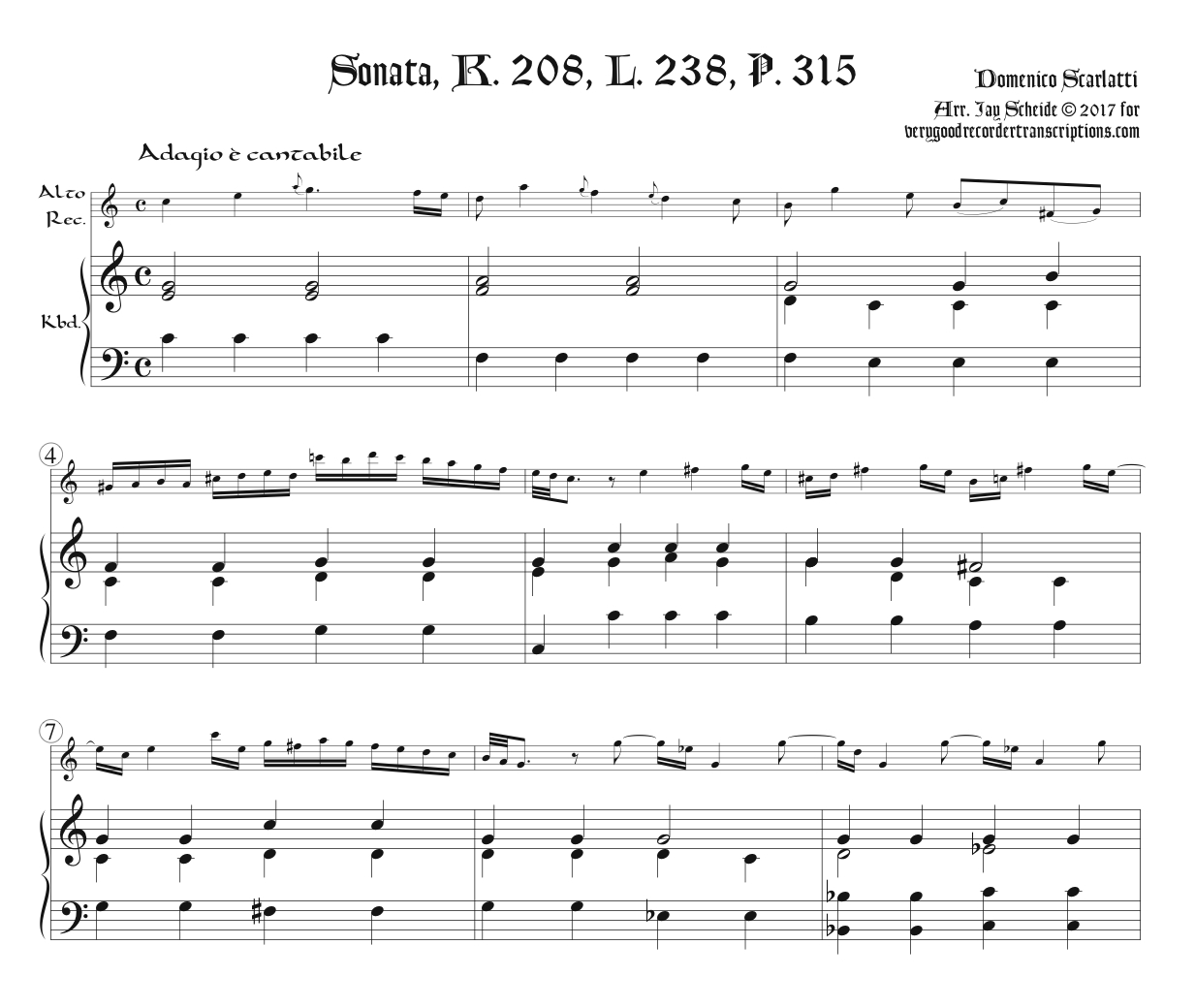 Sonata K. 208, L. 238, P. 315