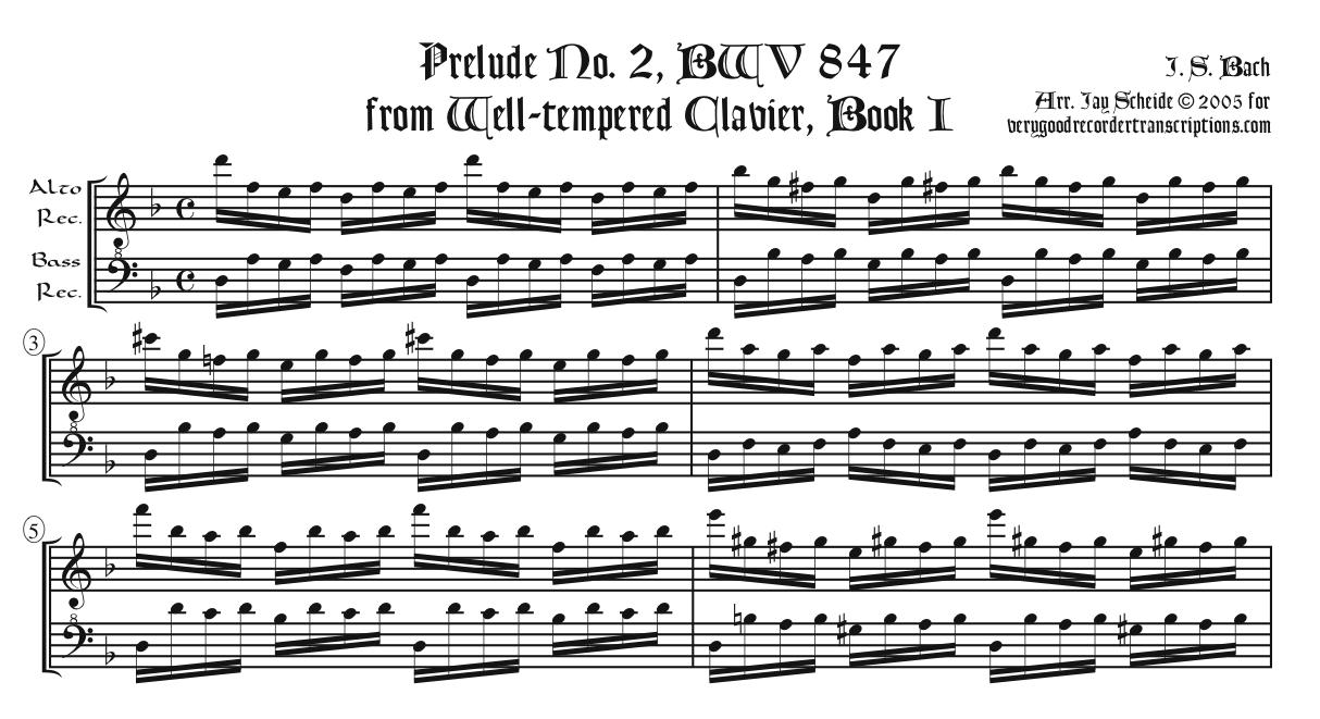 Prélude No. 2, arr. for alto & bass recorders