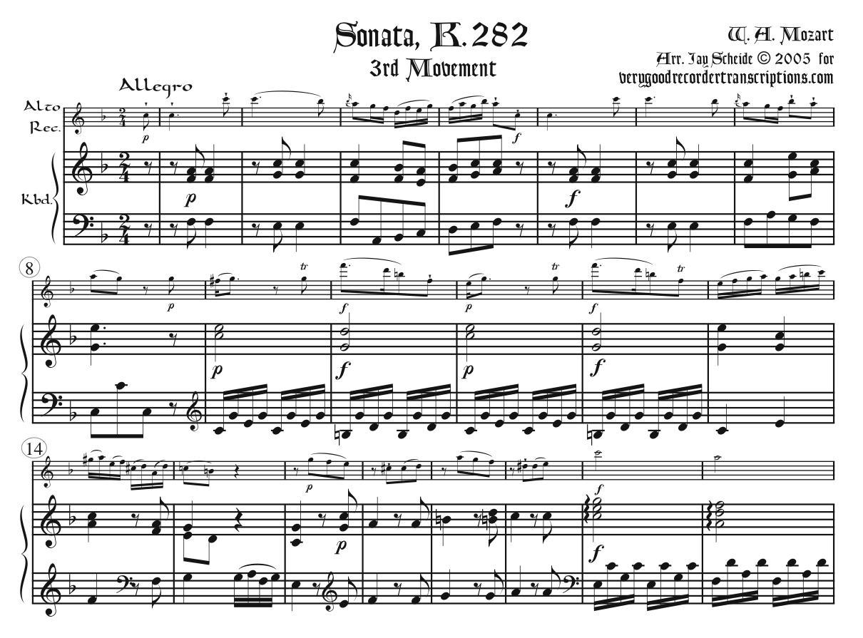 Sonata, K. 282, 3rd Mvmt.