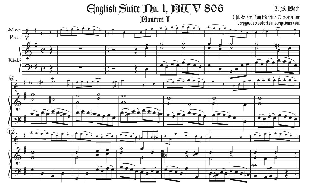Bourrée I & II from English Suite No. 1, BWV 806