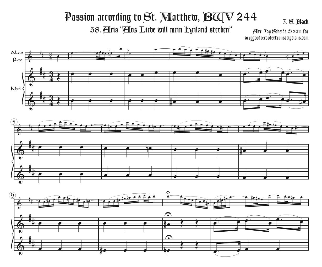 "Aria, ""Aus Liebe,"" from the *St. Matthew Passion*, BWV 244"