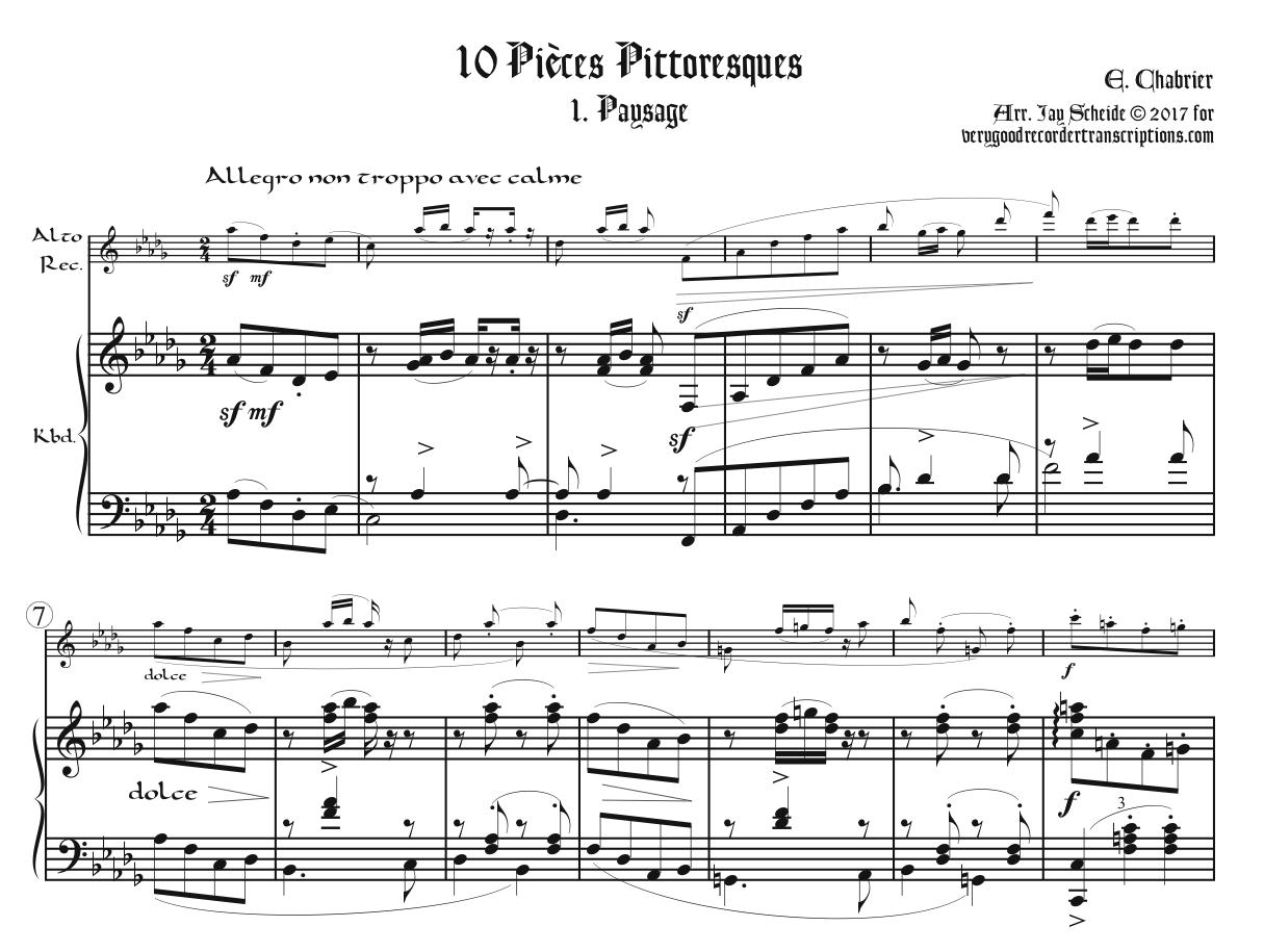 """Paysage,"" No. 1 from *Pièces Pittoresques*, first section only"