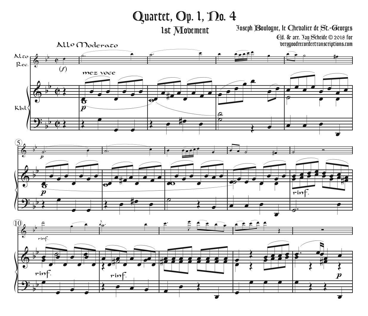 Quartet, Op. 1, No. 4
