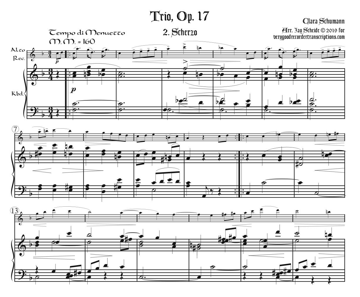 Two Movements from Trio, Op. 17, arr. for alto in F in one and alto in G doubling tenor in C in the other, and keyboard