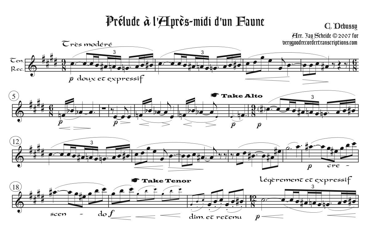 Prélude à l'après-midi d'un faune, primarily for tenor recorder