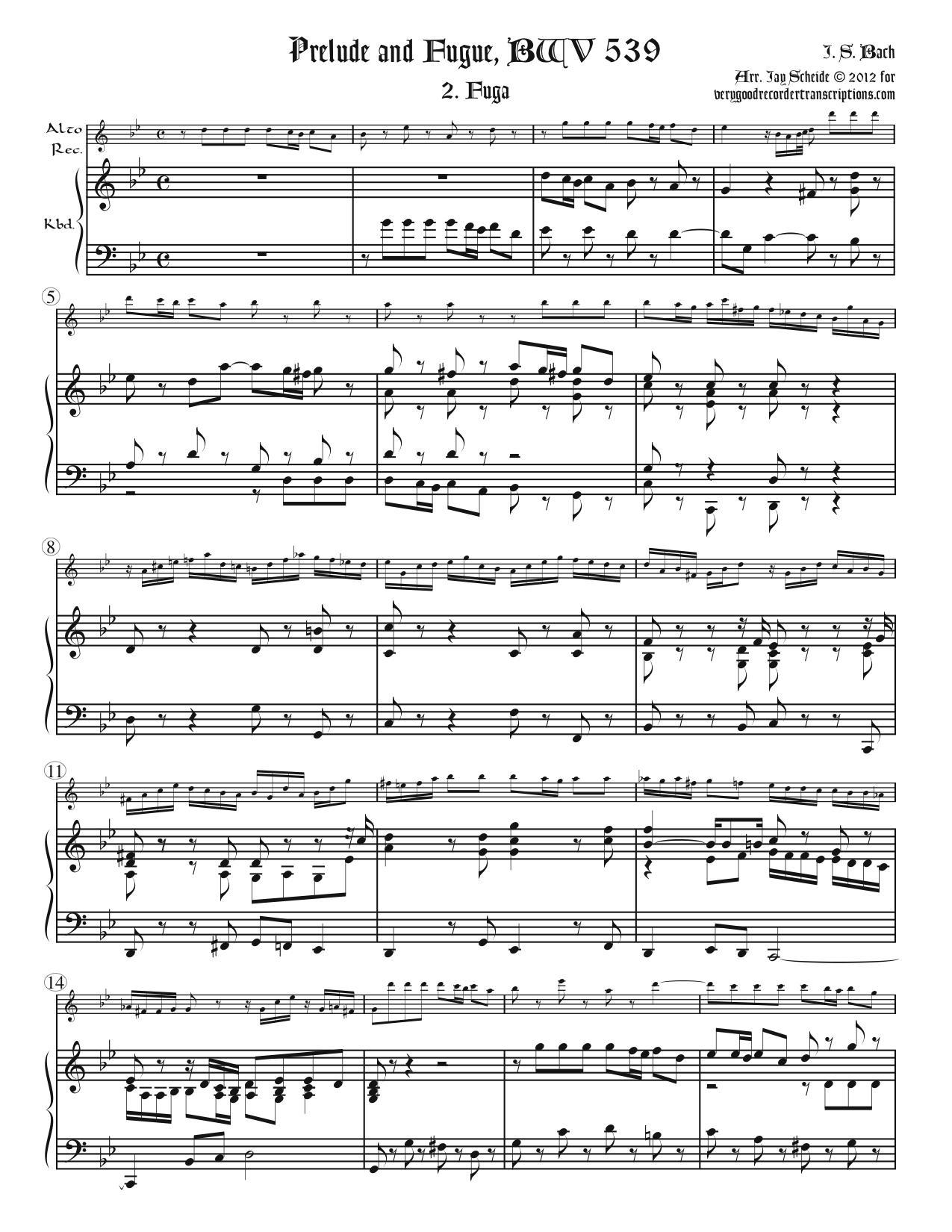 Fugue from BWV 539