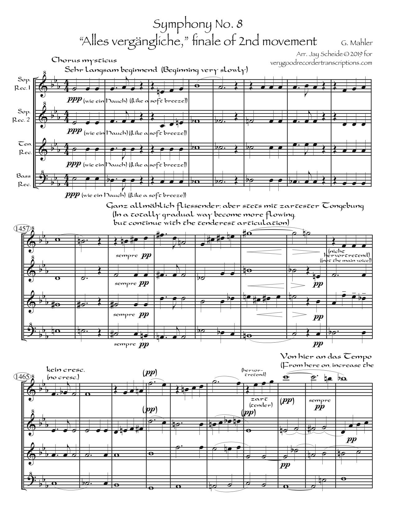 """""""Alles Vergängliche"""", the """"Chorus Mysticus"""" ending to Symphony No. 8, arr. for SSTB recorders"""