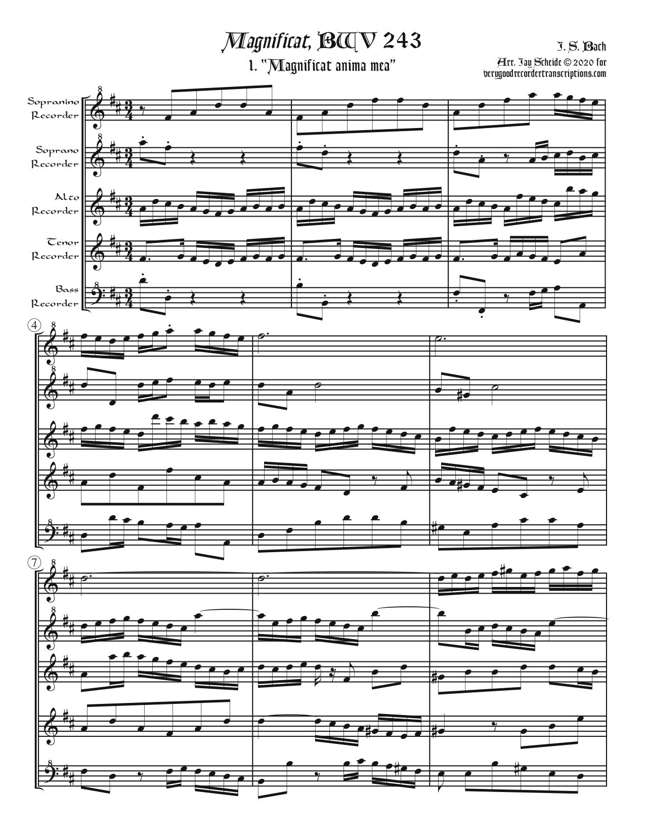 All Six Choruses from the *Magnificat*, BWV 243 (plus one alternative version), for Recorder Quintet
