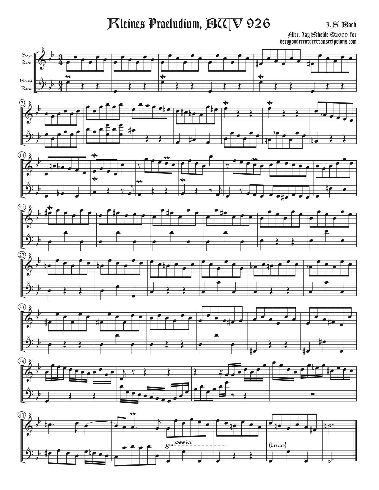 Three *Kleine Præludien* for recorder duet