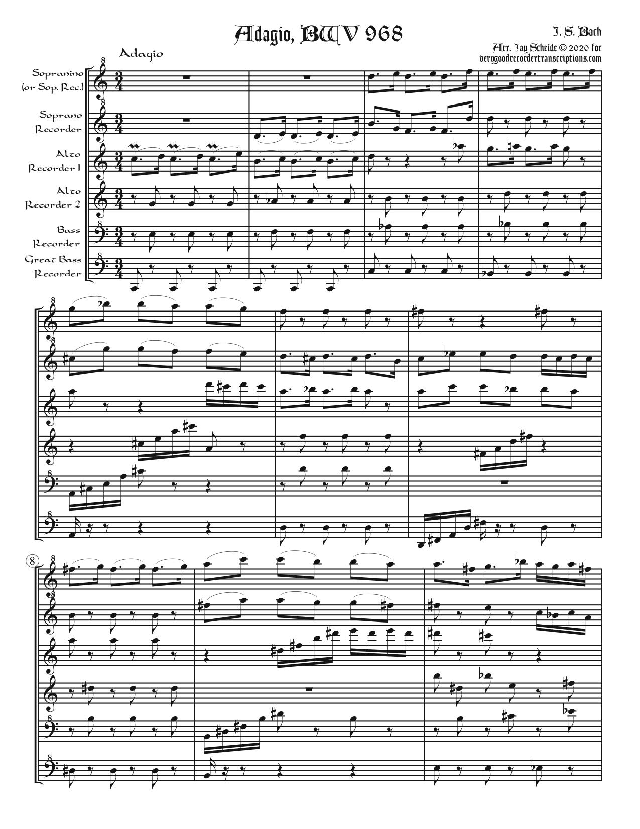 Adagio, BWV 968, arr. for recorder sextet