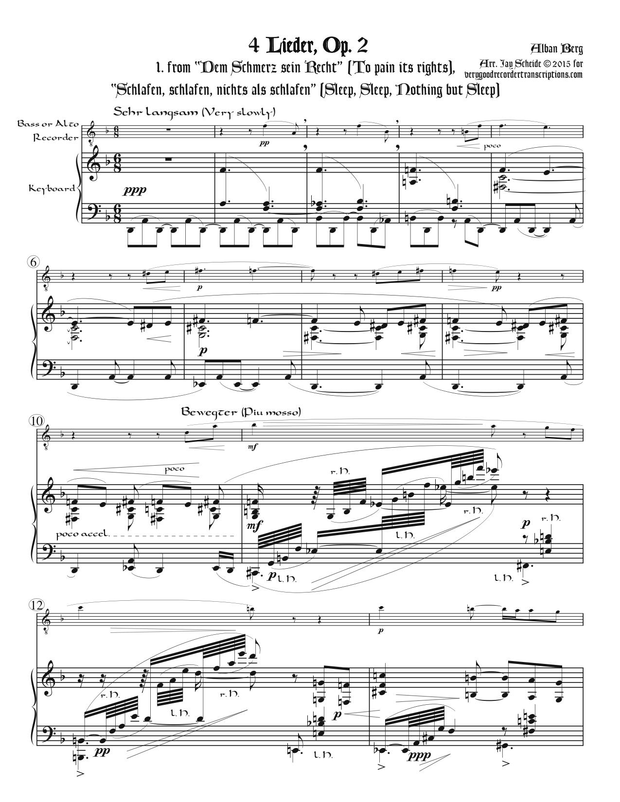 Four Songs, Op. 2, for bass or alto recorder & piano