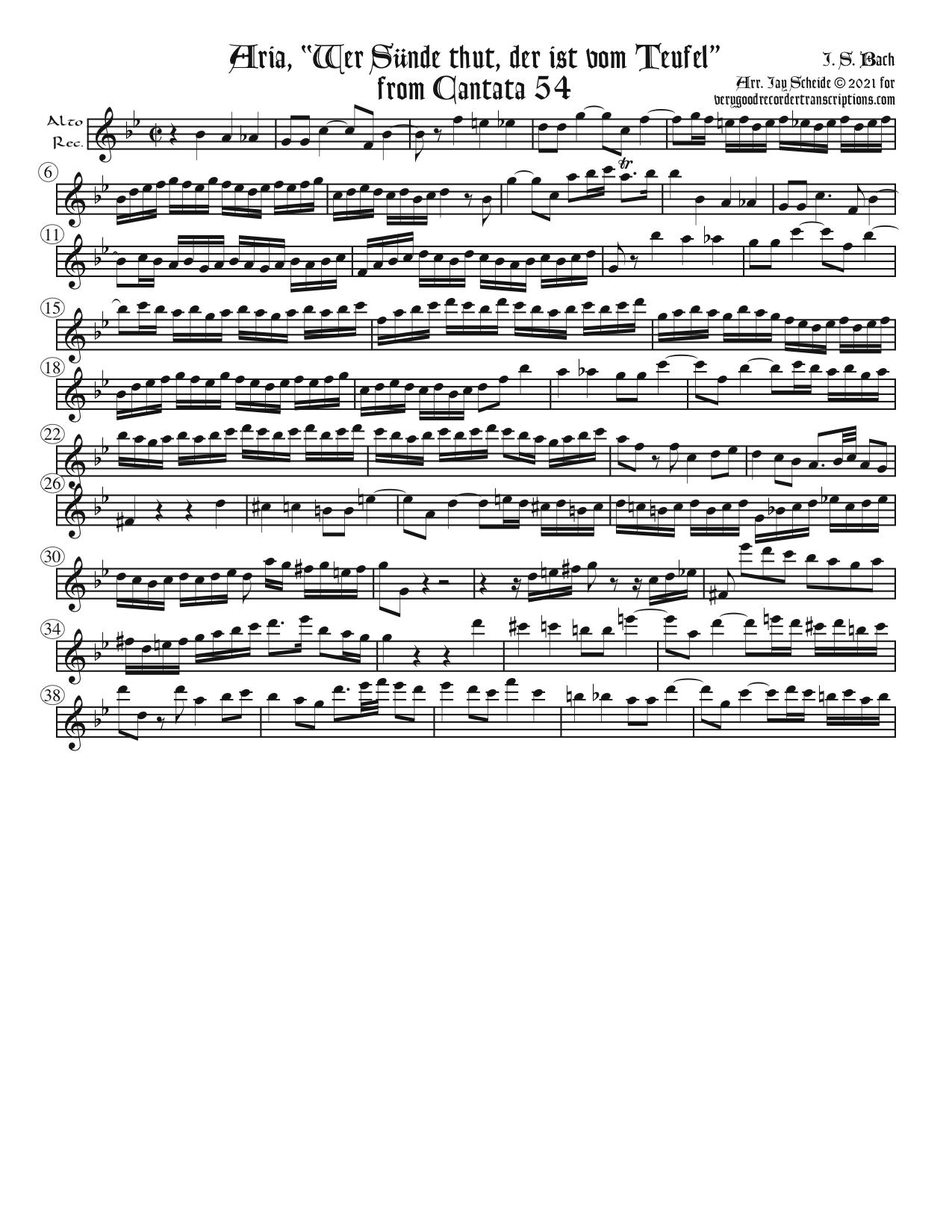 """Aria, """"Wer Sünde thut, der ist vom Teufel"""", from Cantata 54"""