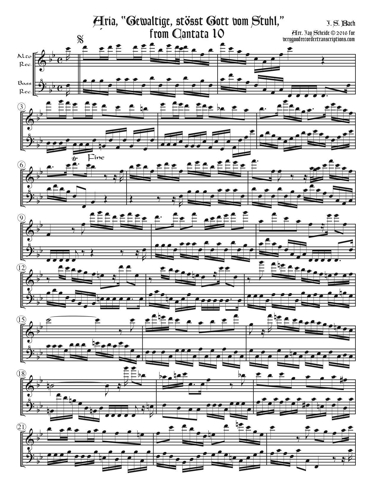 "Aria, ""Gewaltige, ößt Gott vom Stuhl,"" from Cantata 10, arr. for alto & bass recorders"