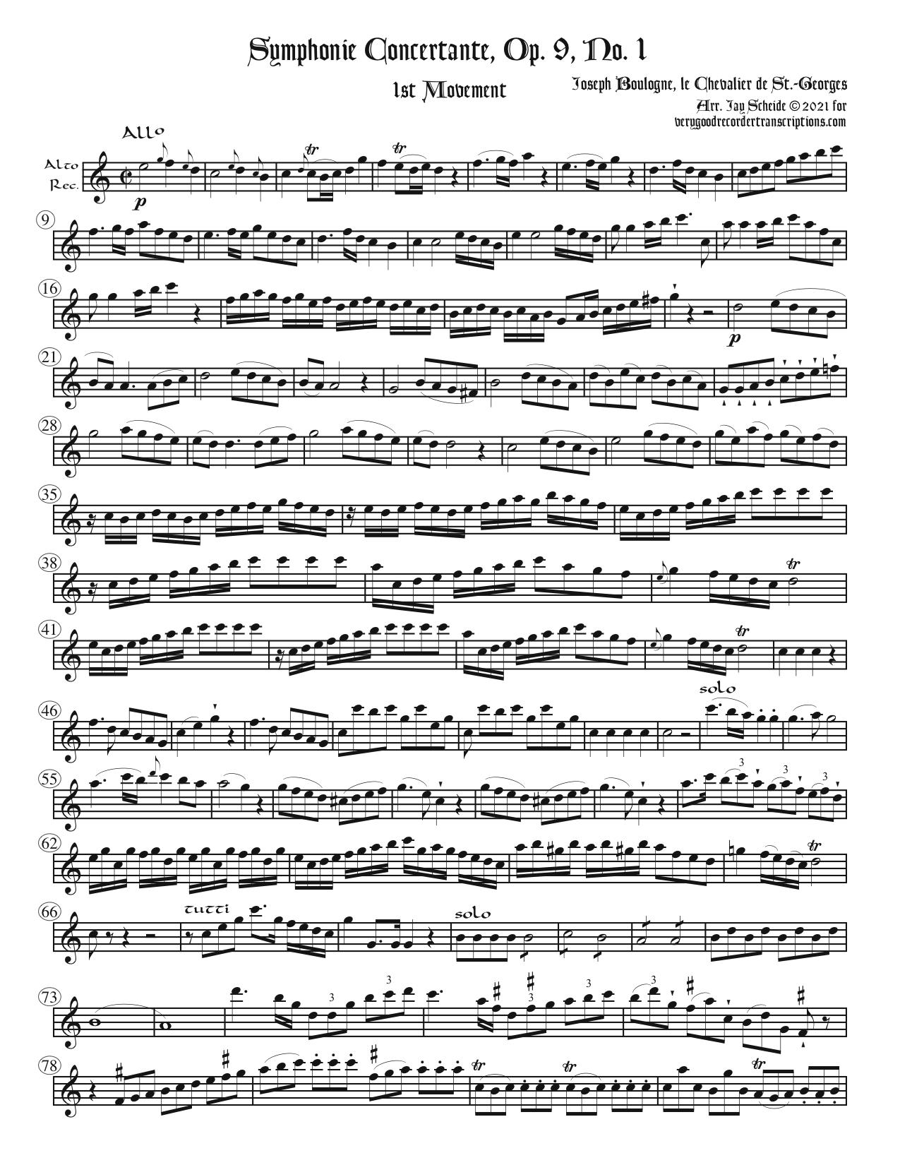 Recorder parts for Four Symphonies Concertantes, one Symphony & one Overture