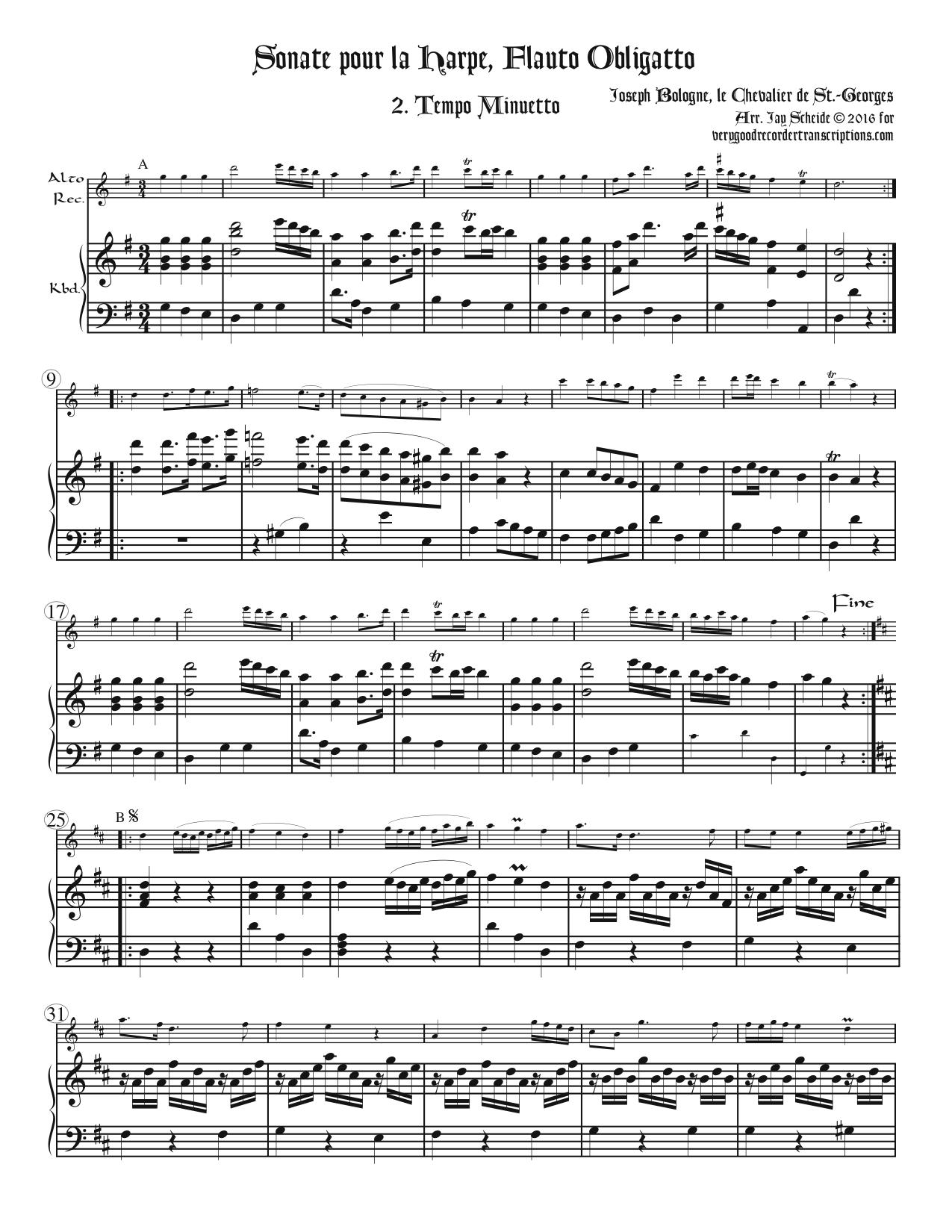 Minuet from Sonata for Flute and Harp