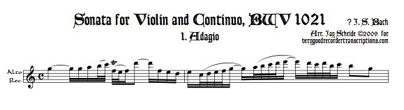 Sonata for Violin and Continuo, BWV 1021