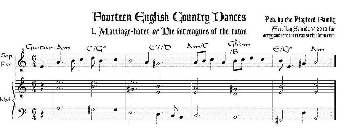 Fourteen English Country Dances, arr. for soprano recorder & keyboard/guitar