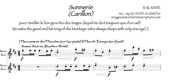 *Sonnerie pour réveiller le bon gros Roi des Singes (lequel qui ne dort toujours que d'un œil)*, arr. for two alto recorders