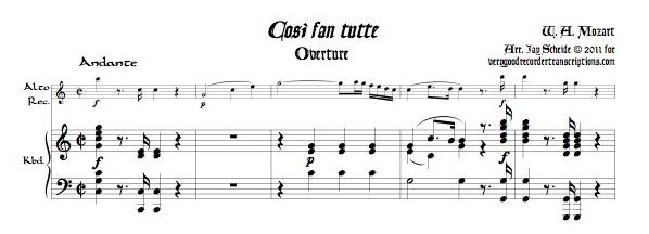 Overture to *Cosi fan tutte*, K. 588