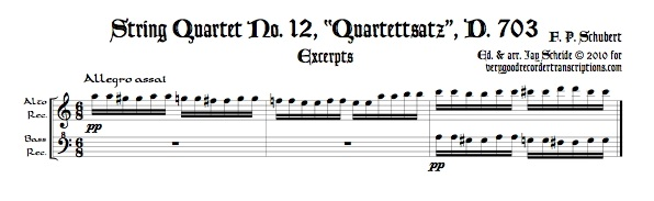 "Excerpts from ""Quartettsatz"", D. 703, arr. for alto & bass recorders, or for soprano & tenor"