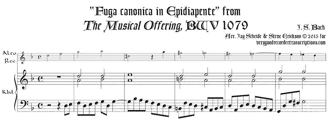 """Fuga canonica in Epidiapente"", from *Musical Offering*, BWV 1079"
