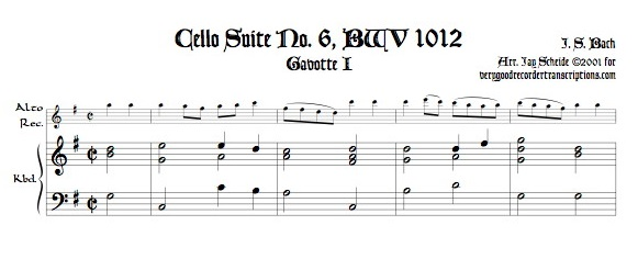 Gavotte I & II from Suite No. 6, BWV 1012