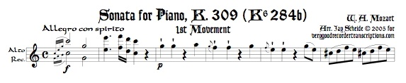 Sonata for Piano K. 309, 1st Mvmt.