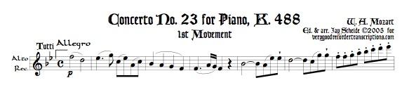 Piano Concerto No. 23, K. 488, 1st Mvmt.
