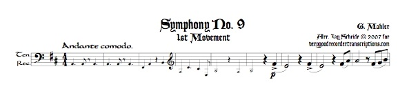 Symphony No. 9, 1st Mvmt., for Tenor recorder doubling Alto, Bass and Soprano