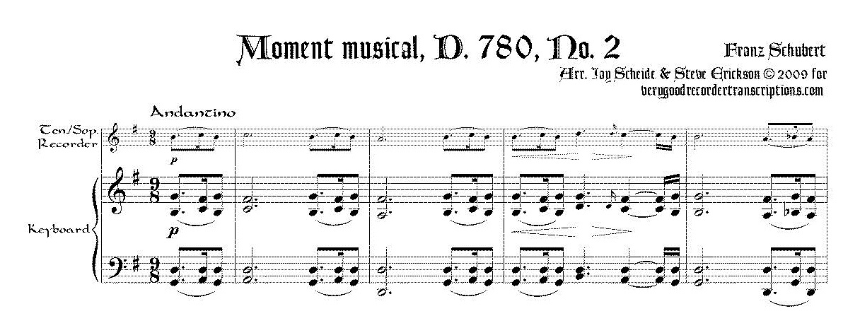 No. 2 from *Moments musicaux*, D. 780, for tenor/soprano recorder & keyboard