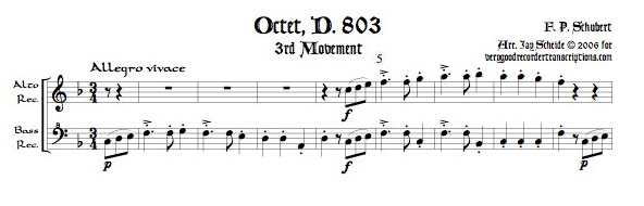 """Scherzo"" from Octet, D. 803, arr. for alto & bass recorders"