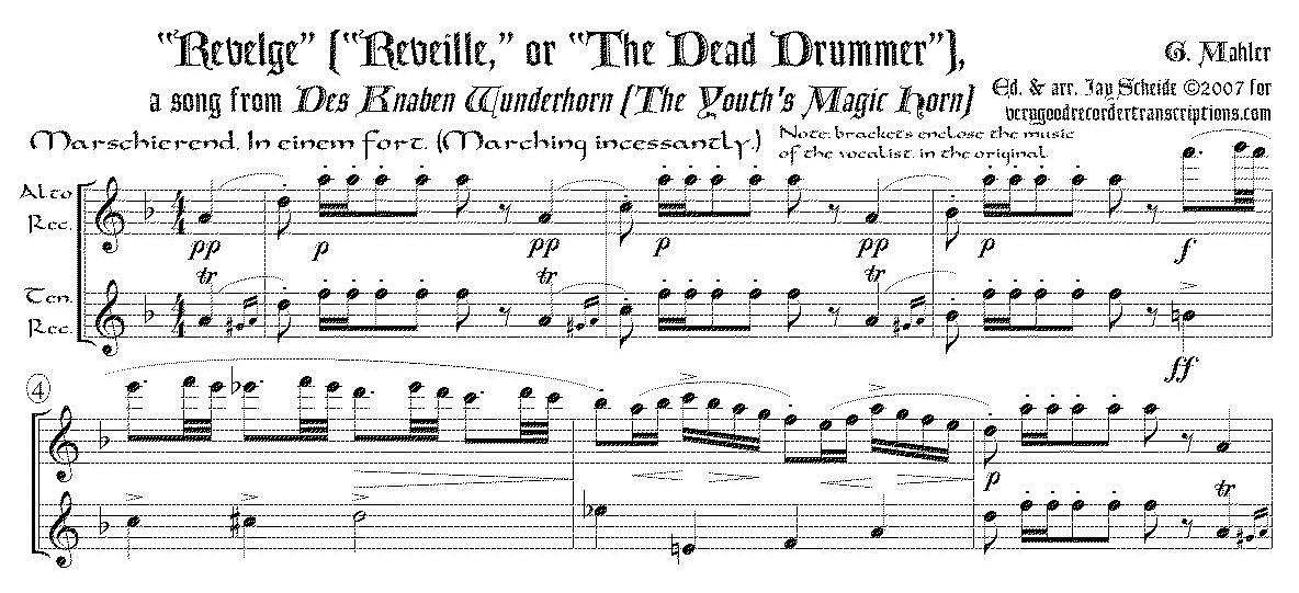 """""""Revelge"""", from *Des Knaben Wunderhorn*, arr. for alto & tenor recorders"""