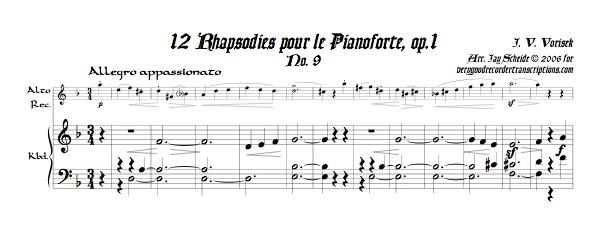 Rhapsody for Piano, Op. 1, No. 9