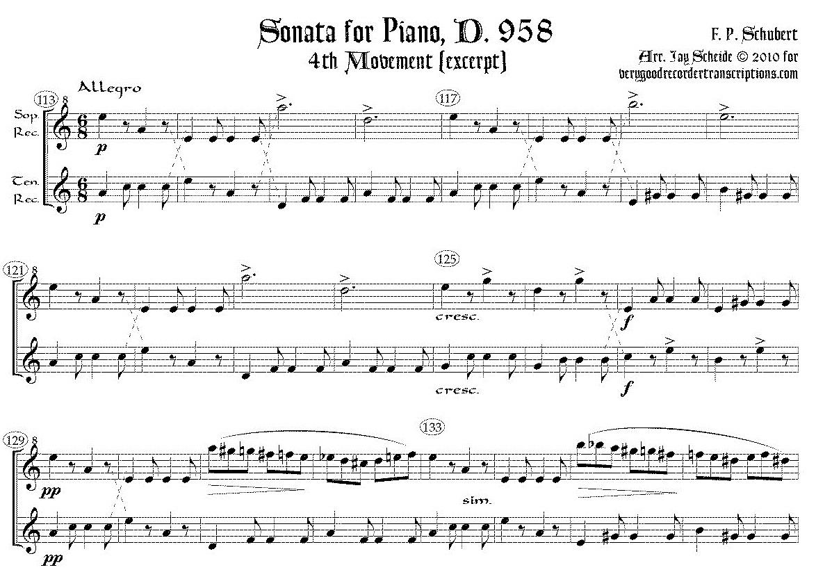Excerpt from Piano Sonata D. 958, 4th mvmt., arr. for soprano & tenor recorders