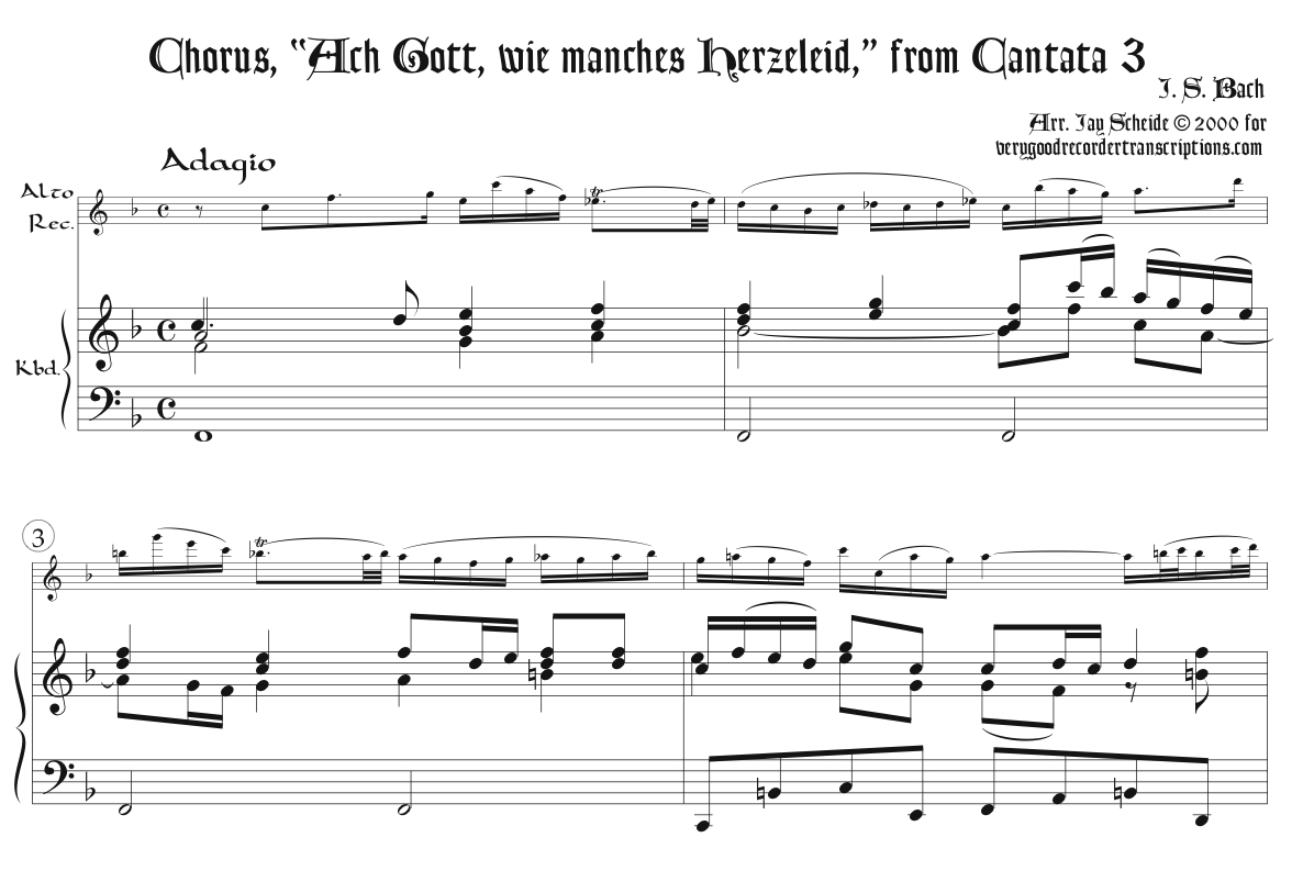 Solo recorder parts from the Cantatas category (not necessary if you get the versions with keyboard.)