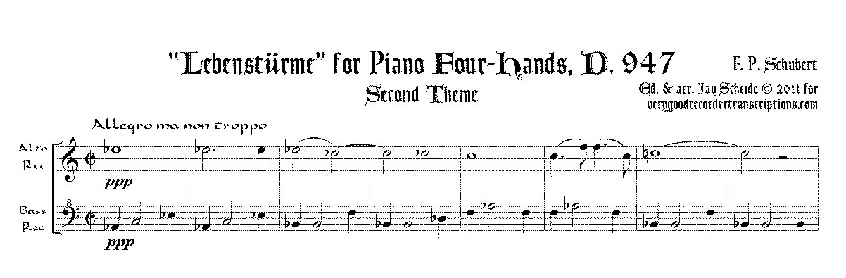 "Excerpt from ""Lebenstürme"", D. 947 for pf. 4-hands, arr. for alto and bass recorders, two versions, one with switch to alto @415"