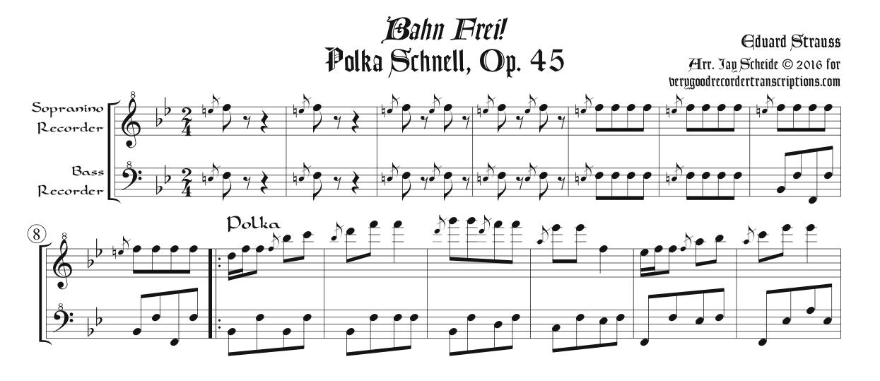 Bahn Frei! Polka, arr. for sopranino & bass recorders