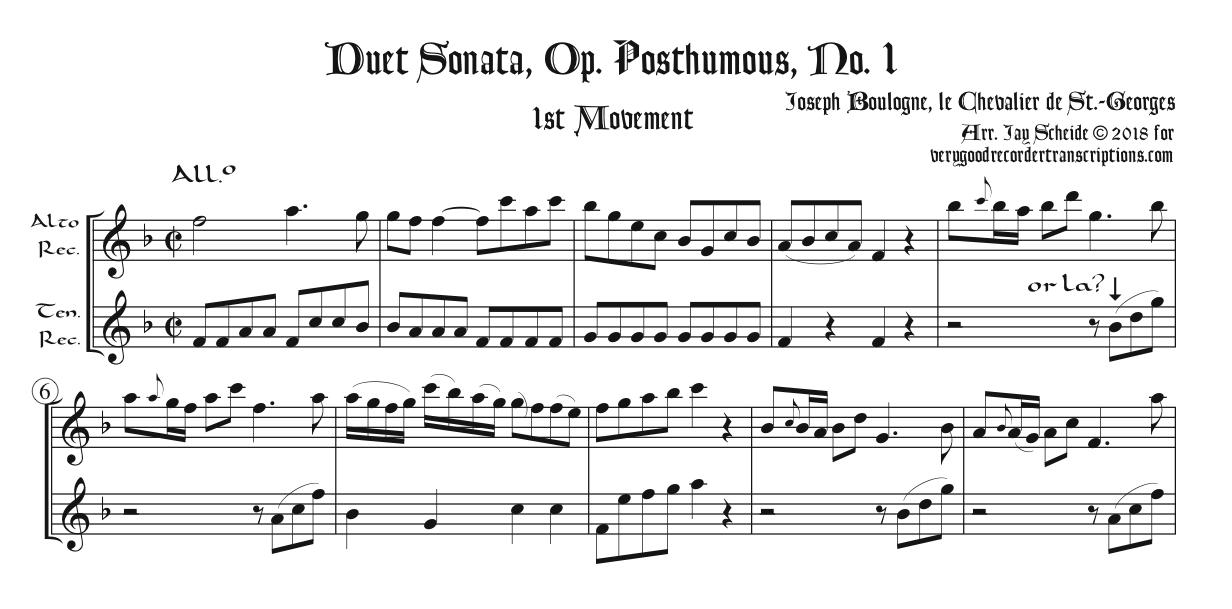 Duet Sonata, Op. Posthumous, No. 1, 1st Mvt., arr. for alto & tenor recorders