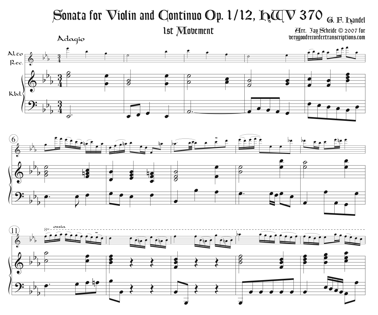 Sonata, Op. 1 No. 12, HWV 370, 1st Mvmt., two versions