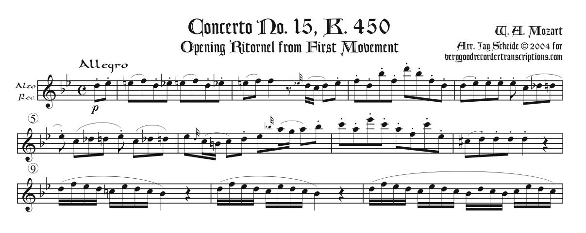 Opening Ritornels from 6 Piano Concertos