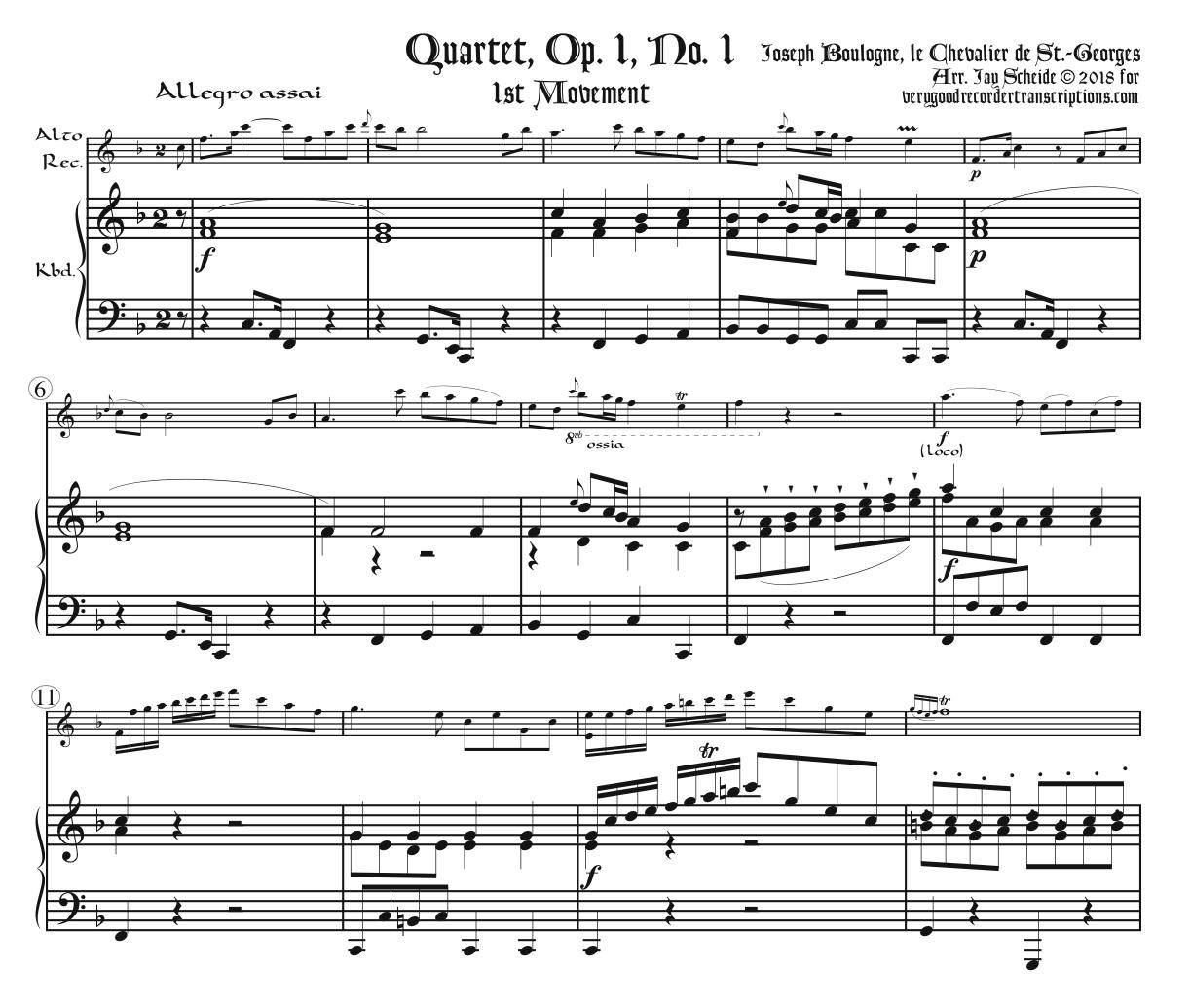 Quartet, Op. 1, No. 1, arr. for Alto doubling Tenor or Soprano