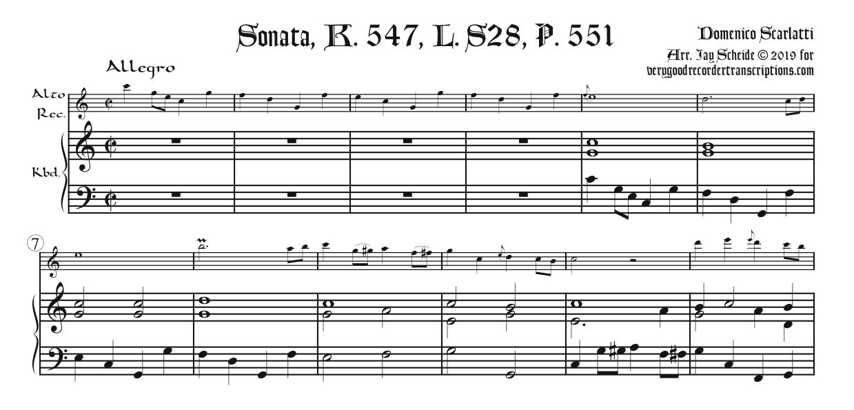 Sonata, K. 547, L. S28, P. 551, two different versions