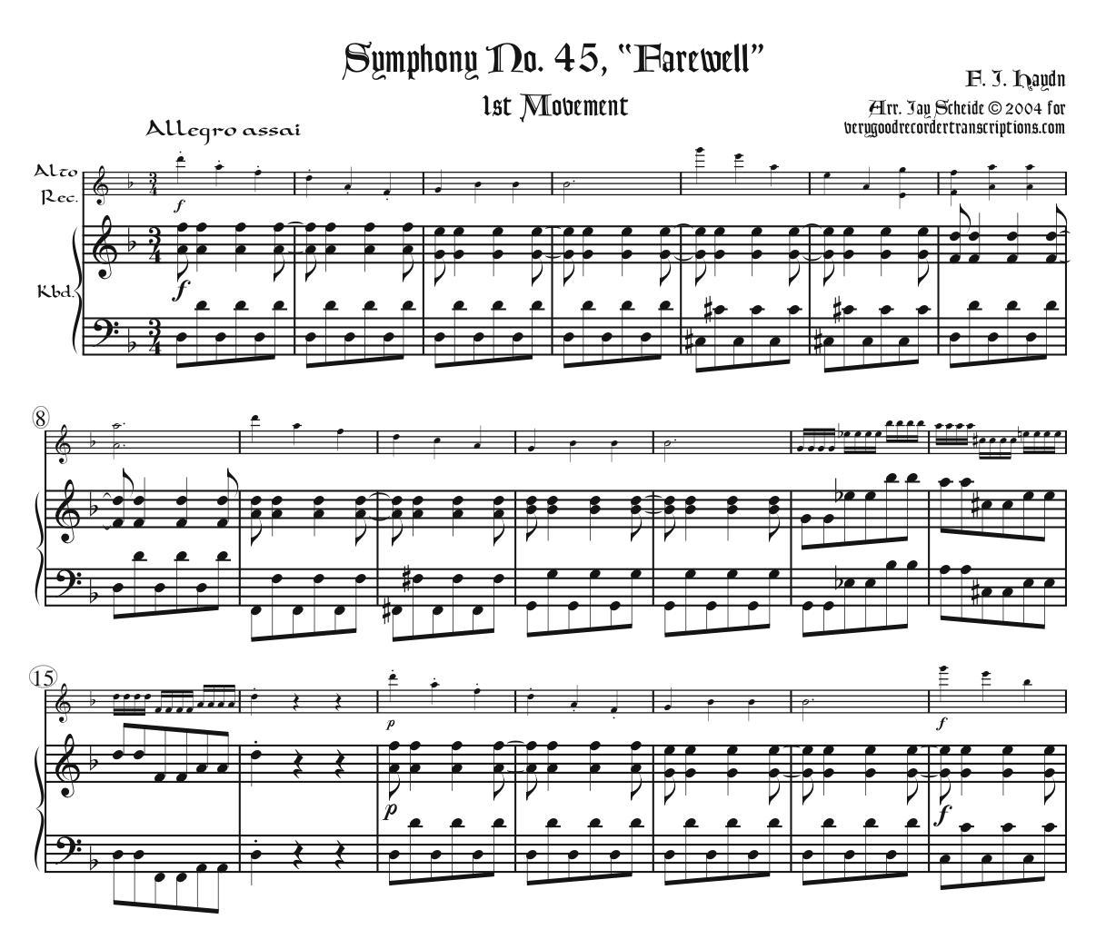 """Symphony No. 45, """"Farewell"""", 1st Mvmt."""