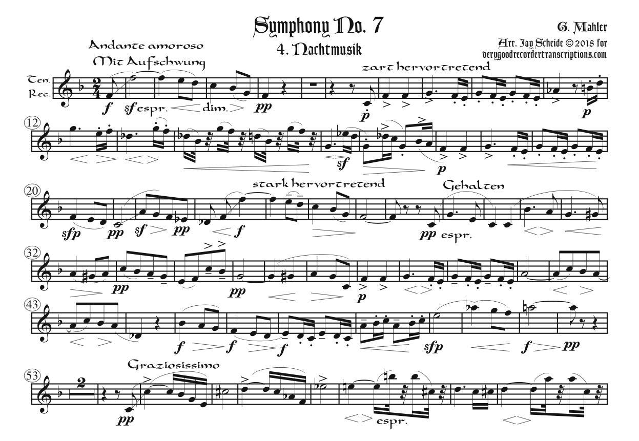 Symphony No. 7, 4th Mvmt., arr. for Alto doubling Tenor and Bass