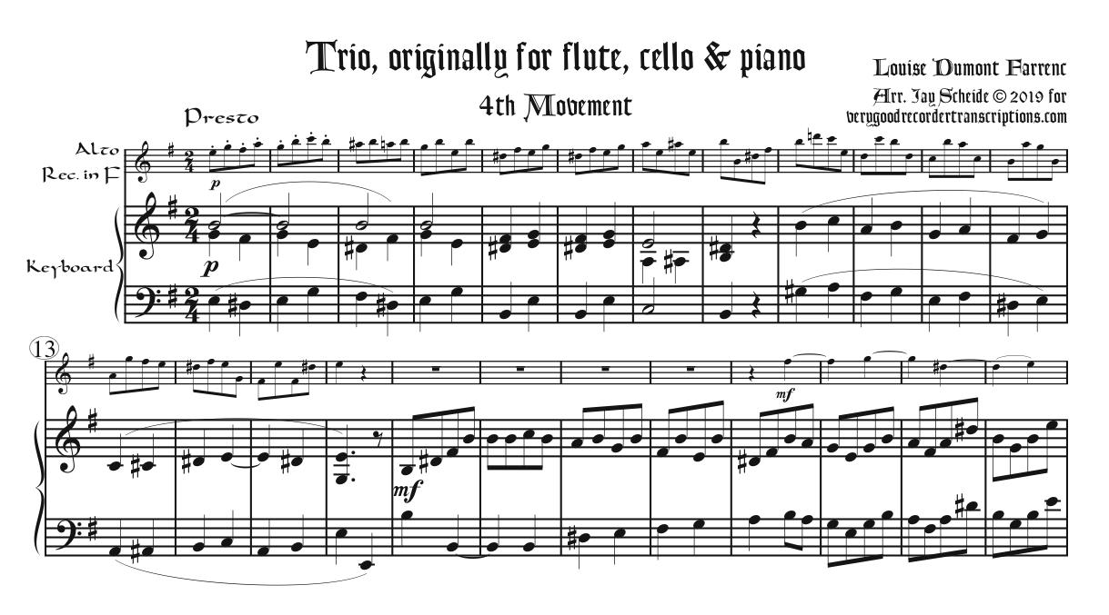 Finale from Trio, Op. 45, for alto recorder in F doubling alto in G, alto @415 and soprano @415